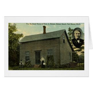 トーマス・エジソンの少年期の家庭のヴィンテージの郵便はがき カード