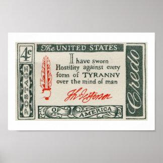 トーマス・ジェファーソンの専制政治の信条1960年 ポスター