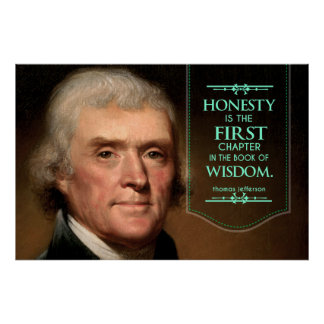 トーマス・ジェファーソンの引用文の正直者は最初のchapteです ポスター