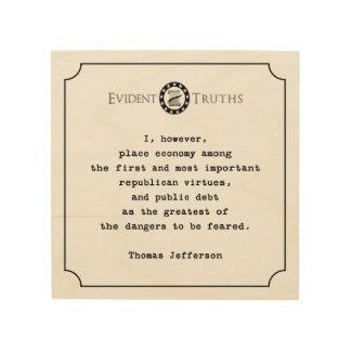 トーマス・ジェファーソンの引用文の素朴な壁のプラク2 ウッドウォールアート