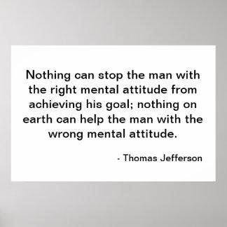 トーマス・ジェファーソンの引用文-態度 ポスター