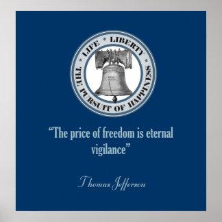 トーマス・ジェファーソンの引用文(警戒) ポスター