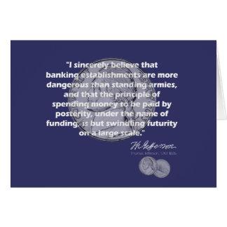 トーマス・ジェファーソンの引用文-金融機関 カード