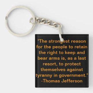 トーマス・ジェファーソンの引用文Keychain キーホルダー
