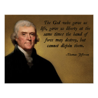 トーマス・ジェファーソンの神の引用文 ポスター