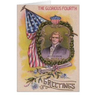 トーマス・ジェファーソンの米国旗忘れ私ない カード