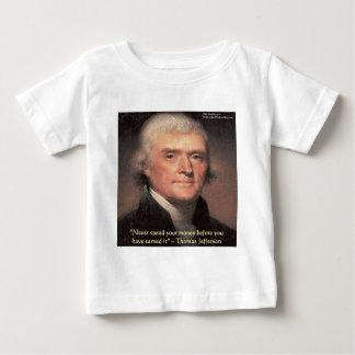 """トーマス・ジェファーソンの""""お金""""の知恵のギフト使います ベビーTシャツ"""