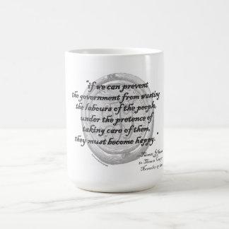 """トーマス・ジェファーソンの""""政府の無駄""""のマグ コーヒーマグカップ"""