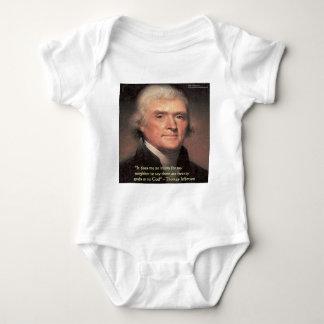 """トーマス・ジェファーソンの""""隣人の宗教""""の引用文のギフト ベビーボディスーツ"""