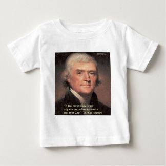 """トーマス・ジェファーソンの""""隣人の宗教""""の引用文のギフト ベビーTシャツ"""