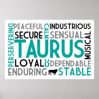 トーラスの占星術の単語のコラージュのプリント ポスター