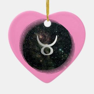 トーラスの星の印の宇宙誕生日のピンクのハート セラミックオーナメント