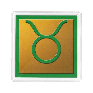 トーラスの緑および金ゴールド アクリルトレー