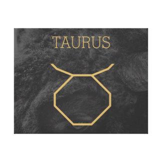 トーラスの(占星術の)十二宮図の印|のカスタムな背景 + 文字 キャンバスプリント