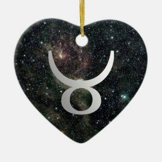 トーラスの(占星術の)十二宮図の宇宙ロマンチックな誕生日のハート セラミックオーナメント
