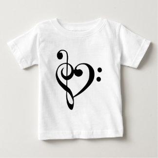 ト音記号の基盤のクレフ、音符記号のハート ベビーTシャツ
