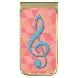 ト音記号の幾何学的な三角形のティール(緑がかった色)およびピンク 金色 マネークリップ