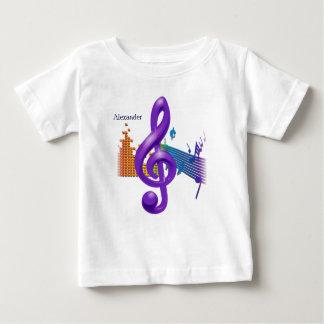 ト音記号の紫色のエレガントなデザイン-カスタム化 ベビーTシャツ