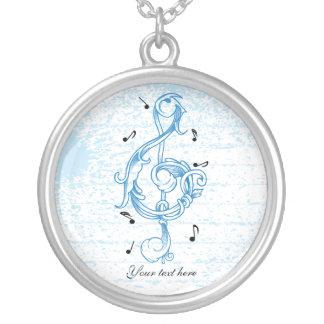 ト音記号の青いscrollworkのカスタム音楽 シルバープレートネックレス