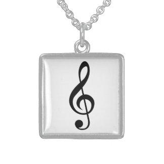 ト音記号のGクレフ、音符記号のミュージカルの記号 スターリングシルバーネックレス