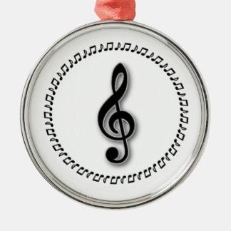 ト音記号音楽ノートのデザイン メタルオーナメント
