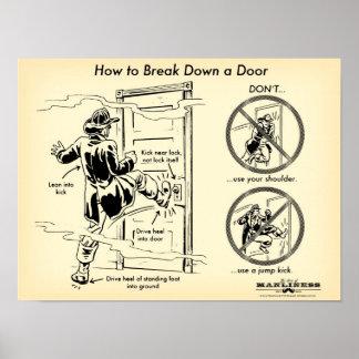 ドアのプリントの下で蹴る方法 ポスター