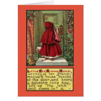 ドアの赤い乗馬フード カード