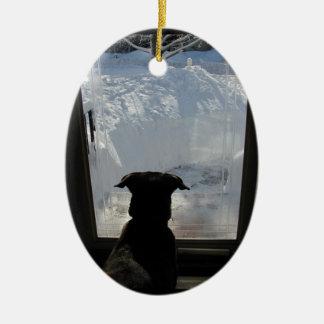 ドアの~のオーナメントの犬 セラミックオーナメント