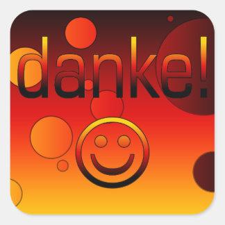 ドイツのギフト: あなた/Dankeを感謝していして下さい + スマイリーフェイス スクエアシール