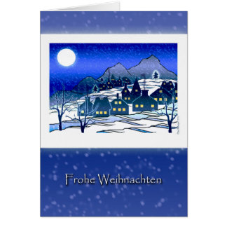 ドイツのクリスマス、Frohe WeihnachtenのSnowyの村 カード
