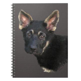 ドイツのシェパードの子犬パステル ノートブック