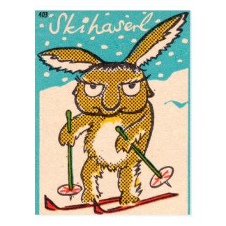 ドイツのスキーバニー ポストカード