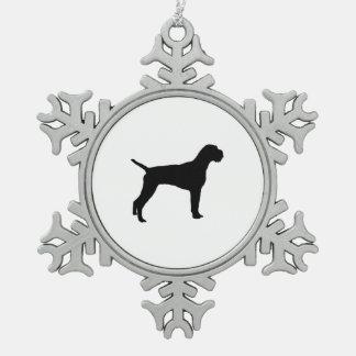 ドイツのワイヤー髪のポインターのシルエット愛犬 スノーフレークピューターオーナメント