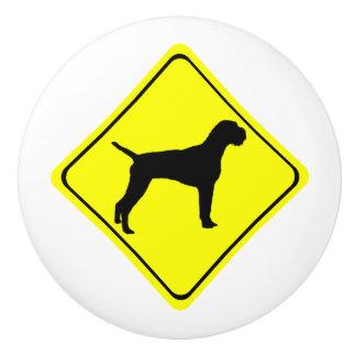 ドイツのワイヤー髪のポインターの警告標識愛犬 セラミックノブ
