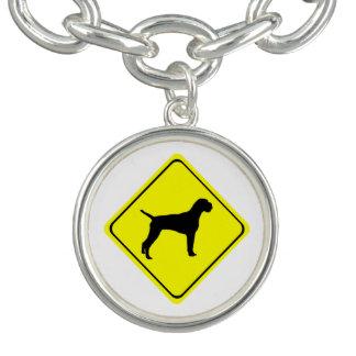 ドイツのワイヤー髪のポインターの警告標識愛犬 チャームブレスレット