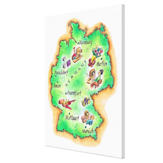 ドイツの地図 キャンバスプリント