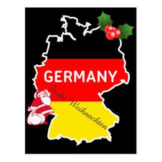 ドイツの地図、旗およびサンタとのクリスマス ポストカード