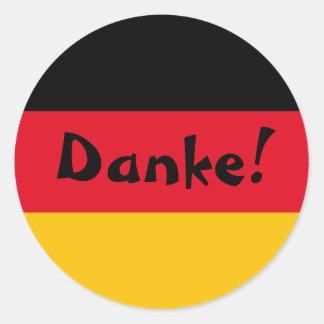 ドイツの旗はDanke感謝していしています 丸形シール・ステッカー