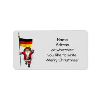 ドイツの旗を持つ甘いサンタクロース ラベル