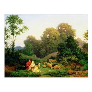 ドイツの景色の羊飼いそしてShepherdess ポストカード