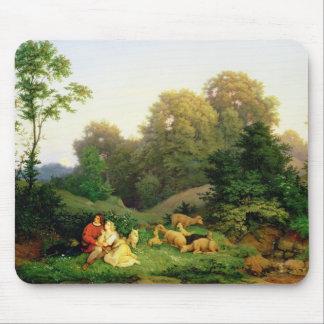 ドイツの景色の羊飼いそしてShepherdess マウスパッド