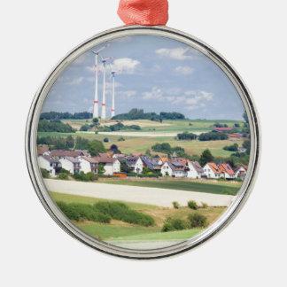 ドイツの村は風車およびトウモロコシ畑を収容します メタルオーナメント