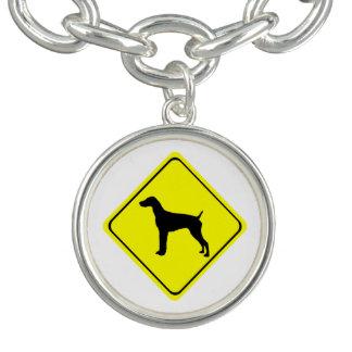 ドイツの短い髪のポインターの警告標識愛犬 チャームブレスレット