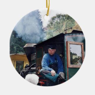 ドイツの蒸気機関の列車のクリスマスのオーナメント セラミックオーナメント