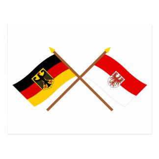 ドイツのundブランデンブルクFlaggenのgekreuzt ポストカード