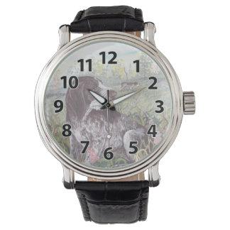 ドイツのWirehairedポインターの子犬の夢みる人の腕時計 腕時計