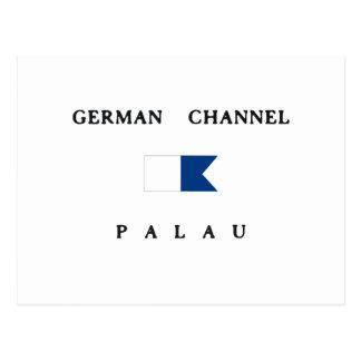 ドイツチャネルのパラオ諸島のアルファ飛び込みの旗 ポストカード