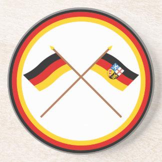 ドイツ及びザールラント州によって交差させる旗 コースター
