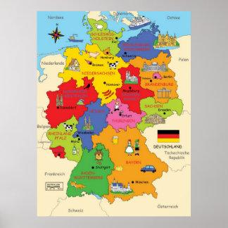 ドイツ地図 ポスター