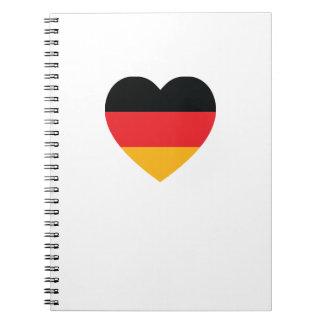ドイツ旗のハートの螺線形ノート ノートブック
